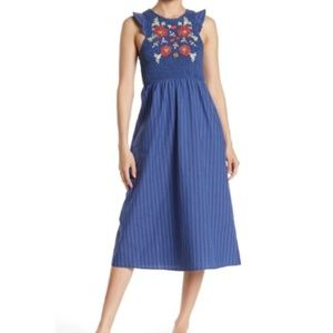 Taylor & Sage Embroidered Pin Stripe Midi Dress